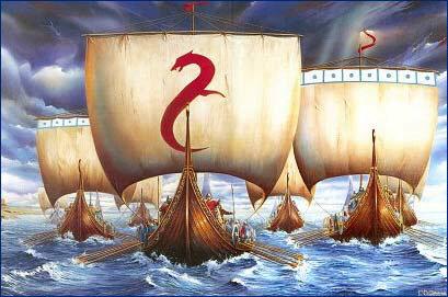 [Viking longboats]